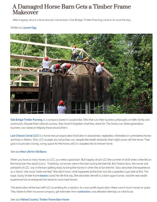 Press for Timber Frame Homes | OakBridge Timber Framing