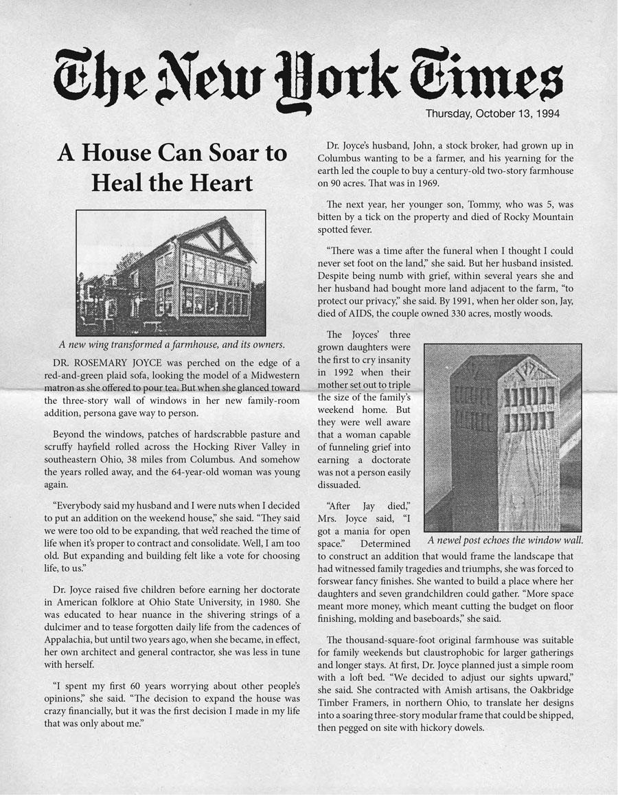 Press for Timber Frame Homes | OakBridge Timber Framing